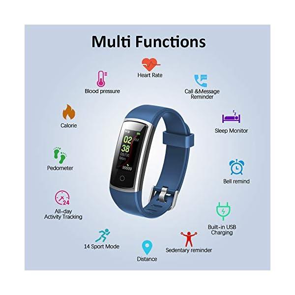Lintelek Pulsera Actividad Impermeable, Reloj Inteligente con Pulsómetro y Tensiómetro, Reloj Deportivo con GPS Compatible a Android y iPhone 6