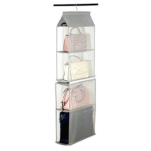Elevavie Hängende Aufbewahrung Kleiderschrank Closet Organizer Faltbar Tragbar Abnehmbare Kleidung Handtasche Taschen Platzsparend Staubbeutel Aufbewahrung (grau)