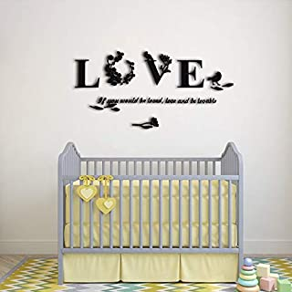 Love Wall Stickers 3D Acrylic Decals for Living Room Bedroom Word Art Decoration Black
