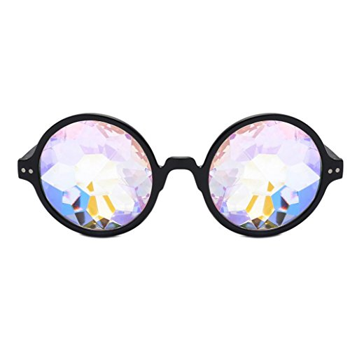 Makefortune Frauen Sonnenbrillen, Kreatives Design Kaleidoskop Gläser Rave Festival Party EDM Sonnenbrille Gebeugtes Objektiv (Schwarz-A)