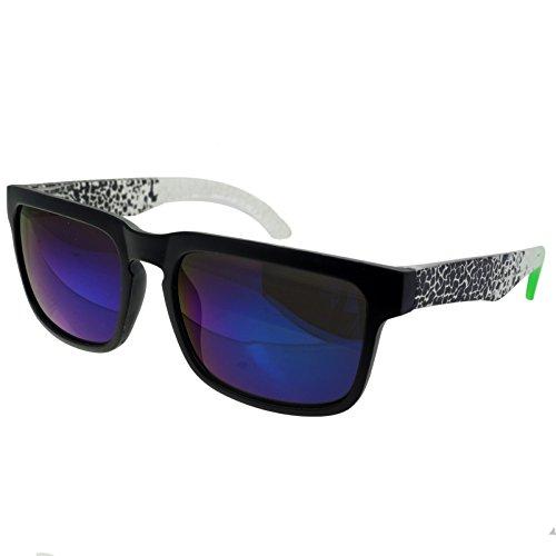 Hornbrille Atzenbrille Nerd Brille Klar oder als Sonnenbrille wayfarer Brille Nerdbrille in verschiedenen Farben. (Schwarz Muster 5)