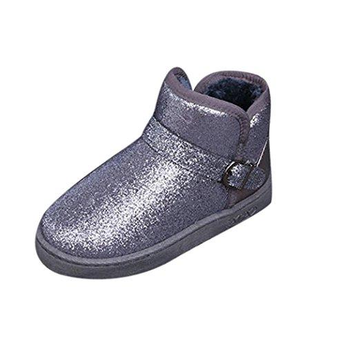 Bottes et boots,Transer® Fashion femmes filles hiver chaud bordé de raquettes à neige bottes couleur unie bottes fourrée Gris