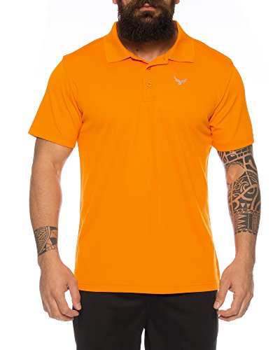 Raff&Taff Polo Shirt Fitness Shirt Hochwertiges Atmungaktives Funktionsshirt T-Shirt Freizeit Shirt (Orange, XX-Large)