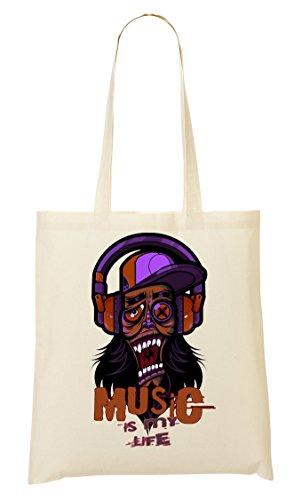 Music Is My Life Techno Hipster Going Crazy Nice to Tragetasche Einkaufstasche (Finden Womens Print Handtaschen)