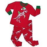 YuanDian Jungen Mädchen Weihnachten Schlafanzug 2 Stück Set 100% Baumwolle Kinder Nachtwäsche Cartoon Drucken Langarm Pyjama Weihnachtskostüm Tops Shirts & Hose Outfit 80-140 Dinosaurier 8 Jahre