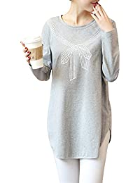 DianShao Camiseta Premamá Top Irregular Mangas Larga Embarazada Moderna