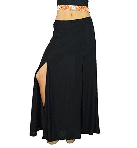 Jupe Bimba Women Black Pencil longue fente latérale Rayon Jupe Noir