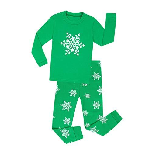 YuanDian Jungen Mädchen Weihnachten Schlafanzug 2 Stück Set Cartoon Drucken Nacht Beleuchten Nachtwäsche Langarm Kinder Weihnachtskostüm Pyjama Outfits 80-140 Grün 8 Jahre -