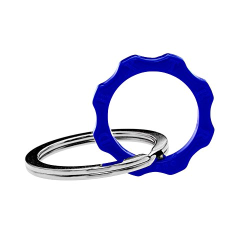 Dexter milano time machine portachiavi ed anello brisè ingranaggio, in acciaio con elemento in plexyglass, blu