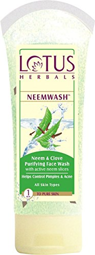 Lotus herbals NEEM and Clove Ultra Purifying Face Wash with Active NEEM Slices, 80 G