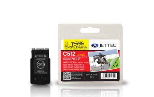 Jet Tec 2969B001AA Canon PG-512 In England hergestellte Wiederaufbereitete Tintenpatrone, schwarz - Tec-druckkopf