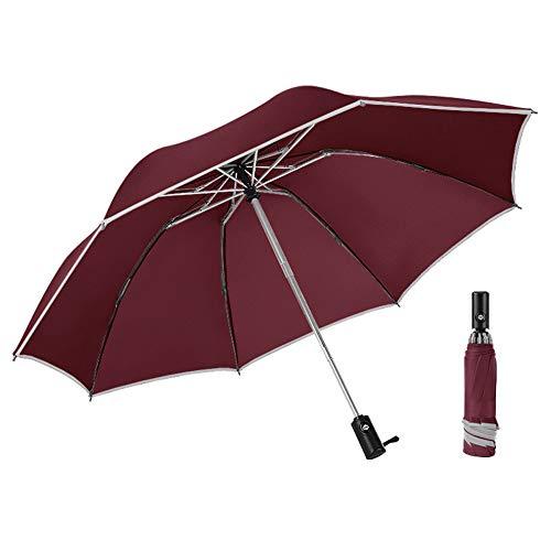 Usmascot Regenschirm, Taschenschirm, Auf-Zu-Automatik, Reverse Reiseschirm, Winddichter Regenschirm, Einfach zu Tragen Stockschirme für Herren und Damen, Rutschfester Griff, 42 Zoll (Wein-Rot)
