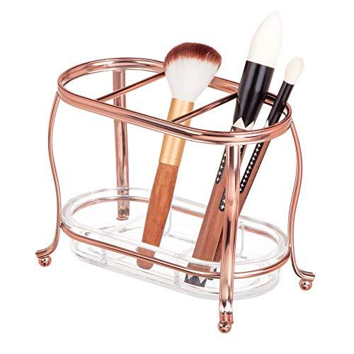 mDesign Organizador de cosméticos – Moderno porta brochas de maquillaje para el baño – Elegante soporte para pinceles de maquillaje de metal inoxidable – rosa dorado