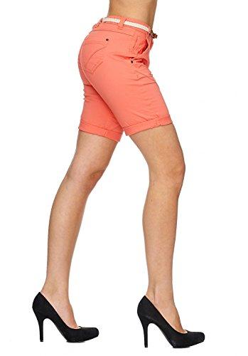 Ladies Bermuda   (Slim Fit) de hipsters court dété dans le style des Bermudes - Short avec cordon tressé skaï   D1787 de Sublevel rose saumon