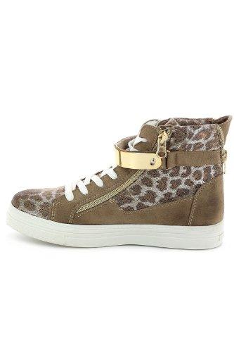Baskets en velours scintillante esprit léopard Beige