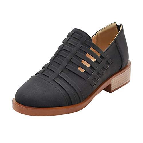 ZYUEER Damen Schuhe Frauen Aushöhlen Low Heel Ausschnitt Stiefeletten Vintage Sandalen Freizeitschuhe Chunky Schuhe - Low Heel Reitstiefel