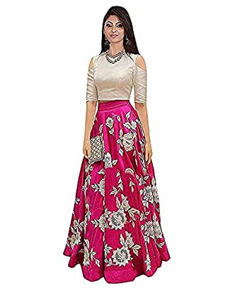 951aba295d80e5 D FASHION GALLERY Women s Bangalori Satin Long Skirt Gown and Top (Pink)   Amazon.in  Clothing   Accessories