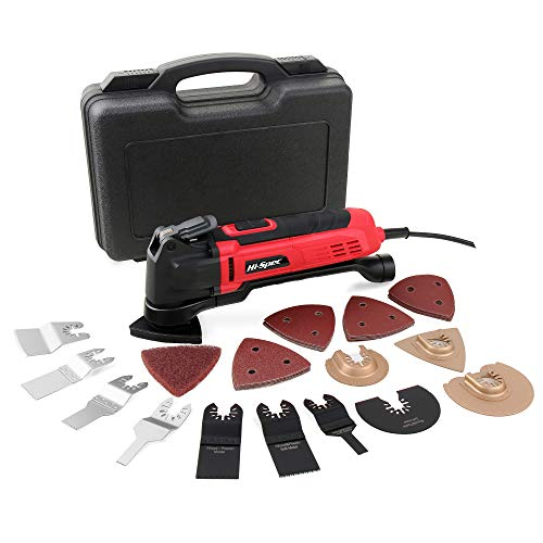 Hi-Spec 300W Oscillating Multi Tool with Quick Change Accessories, 38pc Accessory Kit, Variable Speed Switch, 15000-23000opm Saw, Cutter, Sanding, Grinding, Grout Removing Power Combi Tool
