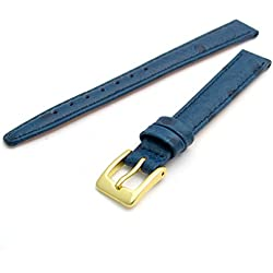 Ladies Genuine Leather Watch Strap Band Ostrich Grain 12mm Dark Blue with Gilt (Gold Colour) Buckle WH1013g