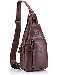Bolso Hombres de pecho, Charminer Cuero genuino Crossbody Bolso de hombro Bolsos de mochila Mochila Messenger Bag Daypack para el negocio Casual Sport Hiking Travel Brown