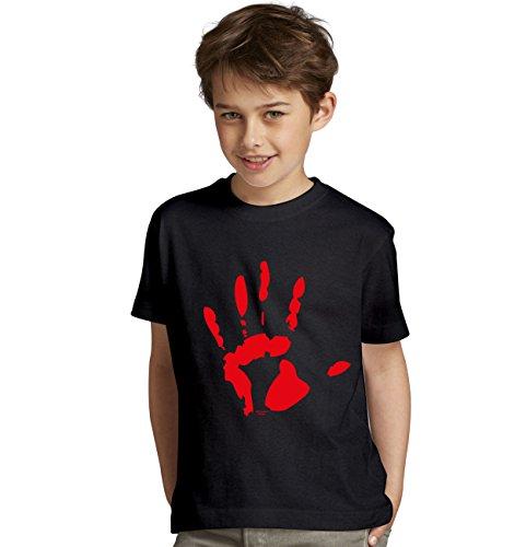 Halloween tshirt Jungen Kinder Motiv Blutige Hand ideale Geschenk-idee für Party, Feier gruseliges Outfit Farbe: schwarz Gr: (Halloween Brauch Ideen Für)