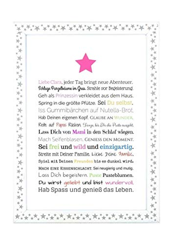 Geschenk für Baby oder Neugeborene - Bild für Mädchen in DIN A4: Personalisierte Geschenkidee als Gastgeschenk für Geburtstag - Gastgeschenk Geburt
