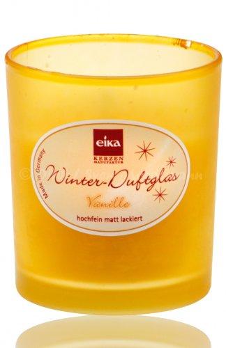 eika Winter Duftglas Duftkerze matt-beige, Duft Vanille, 75x65mm (WC27)