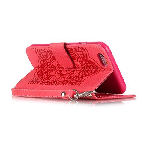 Etsue Portafoglio caso con la cinghia bling per iPhone 6 Plus/iPhone 6S Plus 5.5, lusso retrò cuoio dellunità di elaborazione copertura elegante motivo campanula lucido scintillio di strass diamante Campanula,Rosso