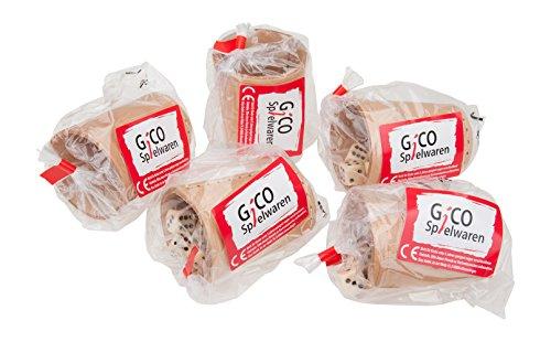GICO-Leder-Wrfelbecher-Standard-9-cm-mit-6-Wrfeln-im-5er-Set