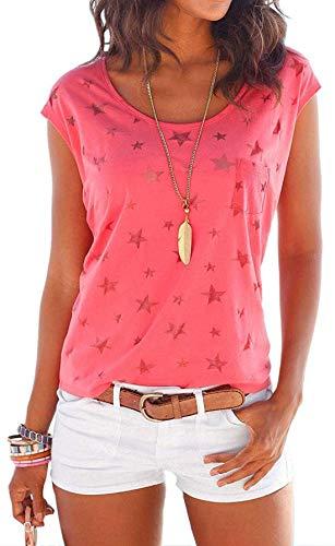 Damen Kurzarm Sommer Shirt Ärmelloses mit Sternenmuster Hemd Tee Tops Oberteile Lässige Casual T-Shirts Bluse (Pink, S)