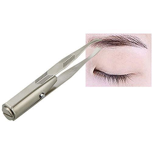 LED Augenbraue-Pinzette mit - Wimpern Haarentferner Werkzeuge Edelstahl Augenbrauen-Pinzette - 3 Knopfbatterien