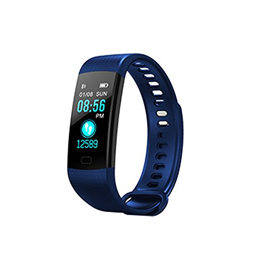 Y5 Colorful Screen Smart Bracelet Heart Rate Blood Pressure Monitor Fitness Tracker Pedometer Smart Band (Dark Blue)