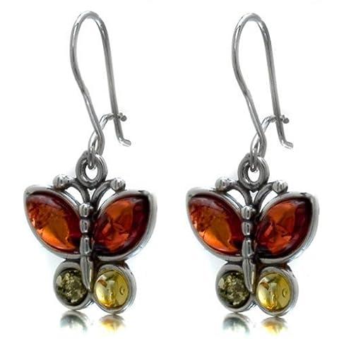 Noda Boucles d'oreilles en ambre multicolore et argent sterling en