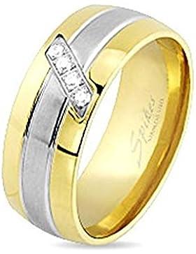 Paula & Fritz® Ring aus Edelstahl Chirurgenstahl 316L silber 6 oder 8mm breit Steinen besetzt unf Goldveredelt...