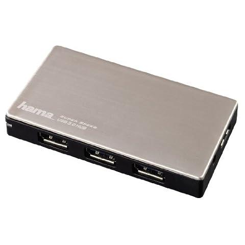 Hama 4-Port USB-3.0 Hub (mit intelligenter Ladefunktion durch automatische Geräteerkennung, mit Netzteil und USB-Kabel, Alugehäuse)