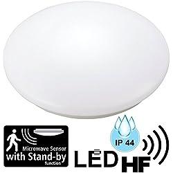 LED 12 W lampada da soffitto per ambienti umidi, IP44, con radar 5.8 GHz RF rilevatore di movimento – Ø 255 mm – bianco caldo (3000 K).