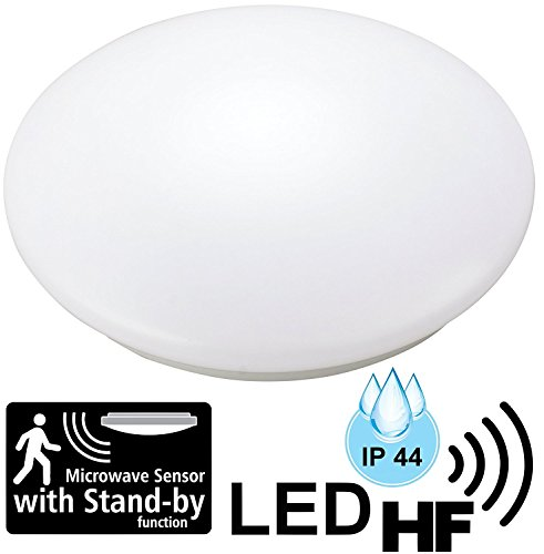 Plafonnier LED 12W pour pièces humides IP44avec détecteur de mouvement radar 5.8GHz HF–Ø 255mm–Blanc chaud (3000K)