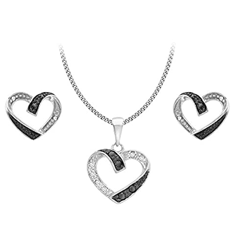 Carissima Gold 9ct White Gold 0.15ct Black White Diamonds Set