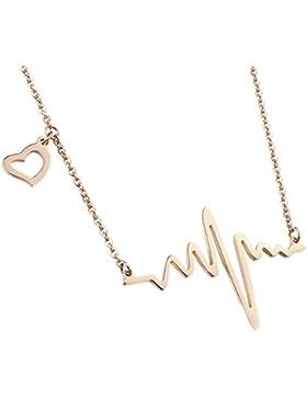 MESE London Herzschlag-Halskette Musik Welle Gold Pendant - Elegante Geschenkbox
