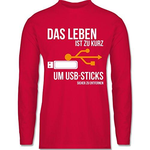 Statement Shirts - Das Leben ist Zu Kurz Um USB-Sticks sicher Zu entfernen - S - Rot - BCTU005 - Herren - Oversize-rechner