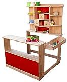 Coemo Kaufladen Kaufmannsladen Verkaufsstand Marktstand Holz für Kinder - ohne Zubehör