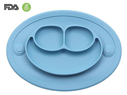 Bebé Niños Mantel Plato de Silicona Infantil Placemat Grado Alimenticio Con Fuerte Succión Ventosa Antideslizante FDA y Sin BPA, Microonda Lavavajillas Congelador Seguro (Azul)