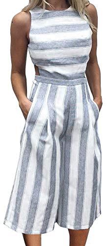 FANCYINN Women Stripe Print Sleeveless Zipper Back Long Jumpsuit Romper Casual Style Blue S