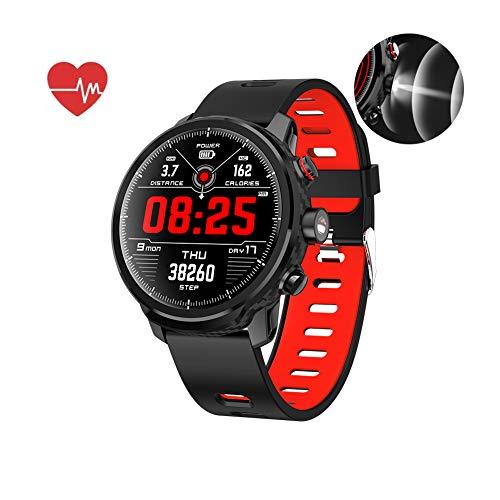 Smart Watch, Wasserdichtes IP68 musiksteuerung, Herzfrequenzmesser Fitness Tracker, Taschenlampe, Schrittzähler Uhr Kinder Frauen Männer, Kompatibel mit iPhone Samsung S9,Red