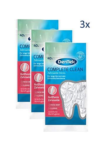 3 x 40 Stk. Dentek Complete Clean Zahnseide Sticks - reißfest - Zahnreinigung der Zahnzwischenräume - Minzgeschmack - Fluorid - Zungenschaber - Zahnstocher