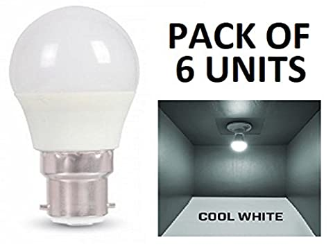 V-TAC LED 3W G45Golf Ball Leuchtmittel–6Stück–B22/BC/BAYONET Gap–Cool weiß 6400K/250Lumen/Kunststoff-Finish/entspricht 25W Glühlampe/20.000Stunden durchschnittliche Lebensdauer/nicht dimmbar/220–240V–180Grad Abstrahlwinkel/50Hz/SKU: 7233X 6