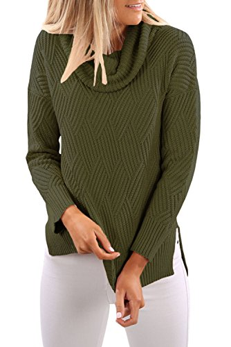 Army Green Cowl Neck Seite Split Pullover Größe 38-40 (Cowl Pullover Neck Wolle)