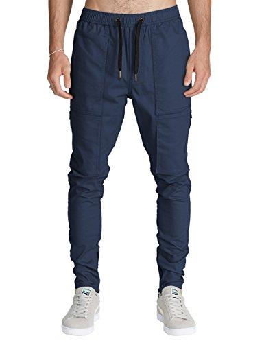 ITALY MORN Harem Pantalones De Cargo Hombre Deporte Chinos Pantalon Skinny Joggers Casual Algodon Negro (L, Azul Marino)