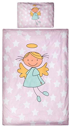 Aminata Kids Kinder-Bettwäsche 100-x-135 cm Schutz-Engel-Motiv Stern-e Star Sternchen Baby-Bettwäsche 100-{83a082f423a480f279c7cdee9544c9df9ab21ae51bfc4451568b4b9403a50277} Baumwolle Renforce hell-rosa Rose Weiss-e Mädchen Engelchen