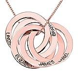Top WHY Collar Personalizado de Anillo Ruso con Grabado en Plata esterlina, joyería Personalizada con 5 círculos de Disco para mamá